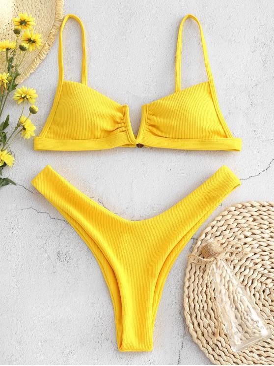 ladies ZAFUL Ribbed V Wired High Leg Bikini Set - BRIGHT YELLOW L