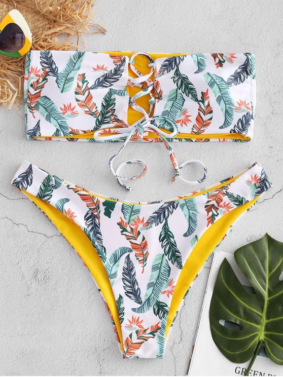 Bikini bandeau con estampado de hojas con cordones de ZAFUL - Blanco S