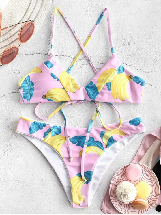 lady ZAFUL Reversible Banana Lace Up Bikini Set - MULTI-A L