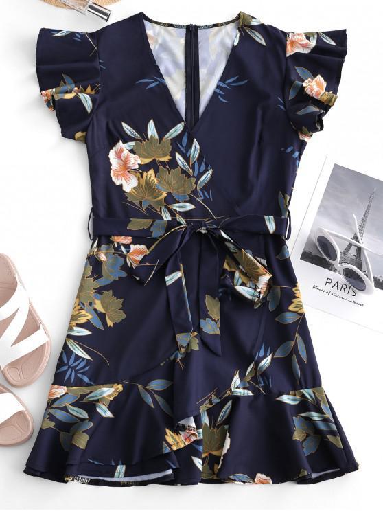 fancy Belted Ruffles Floral Surplice Mini Dress - MULTI M