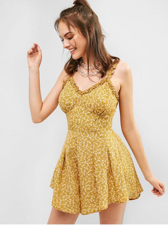 unique ZAFUL Knotted Back Tiny Floral Wide Leg Romper - BEE YELLOW L