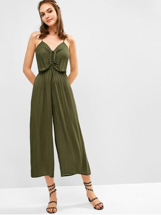 trendy ZAFUL Cami Wide Leg Drawstring Jumpsuit - CAMOUFLAGE GREEN S