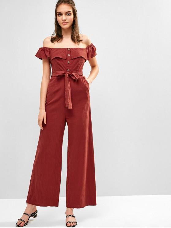 lady ZAFUL Flounce Buttons Belted Wide Leg Jumpsuit - CHESTNUT RED M