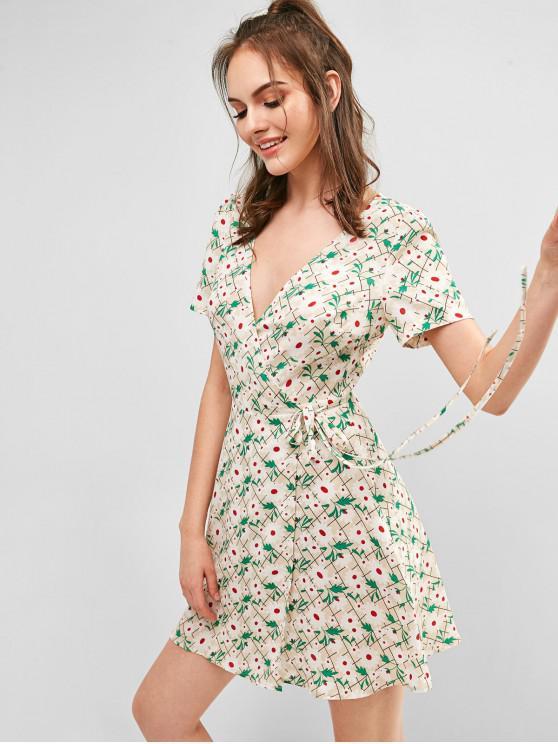 sale ZAFUL Floral Print V Neck Wrap Dress - WHITE M