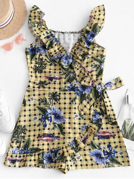 fancy Floral Plaid Ruffles Sleeveless Dress - MULTI L