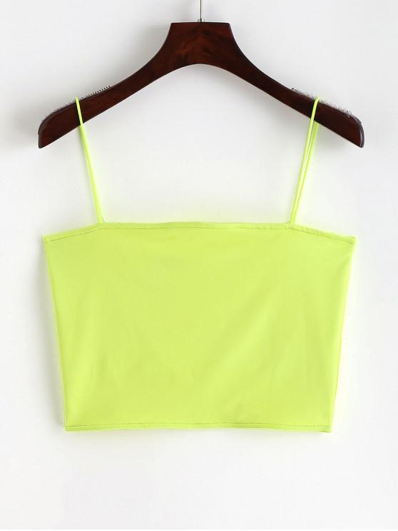 chic Spaghetti Strap Cropped Top - TEA GREEN S
