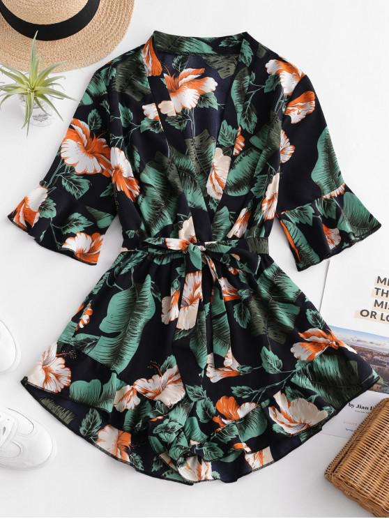 chic Belted Floral Ruffles Romper - MULTI S