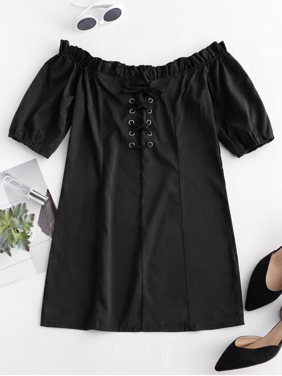 ladies Mini Lace Up Off Shoulder Dress - BLACK L