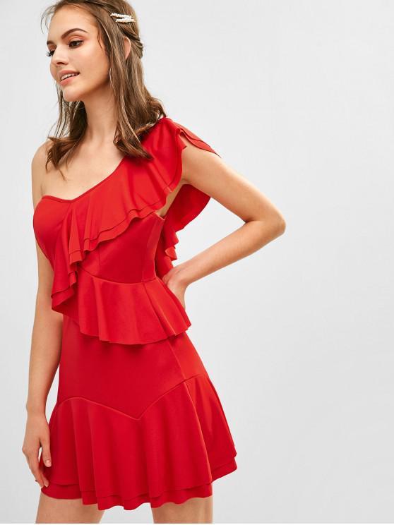 fashion Ruffles One Shoulder Mini Dress - RED M