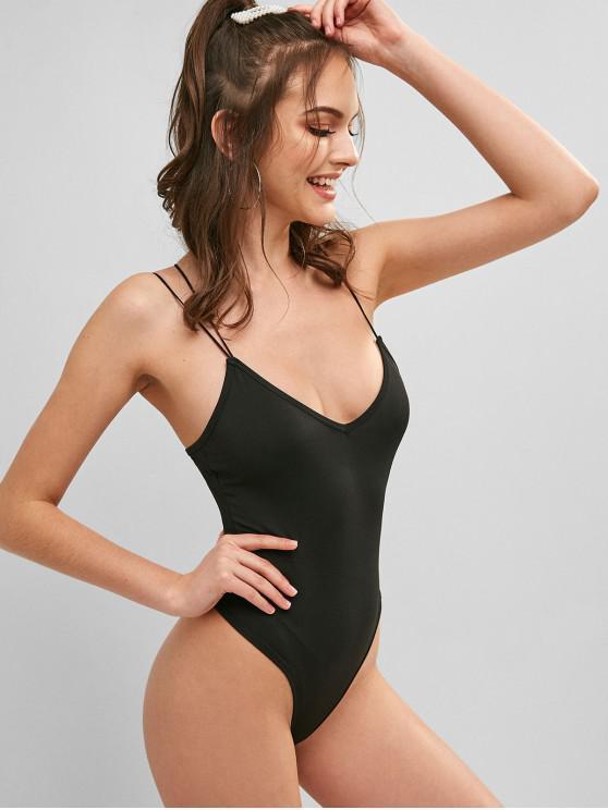 women's Strappy High Leg Bodysuit - BLACK M