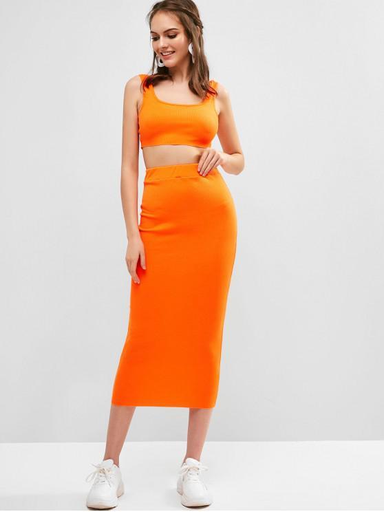 hot Ribbed Bodycon Skirt Set - PUMPKIN ORANGE M