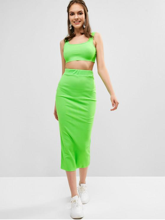 5de01737f47e 35% OFF] [HOT] 2019 Ribbed Bodycon Skirt Set In GREEN | ZAFUL