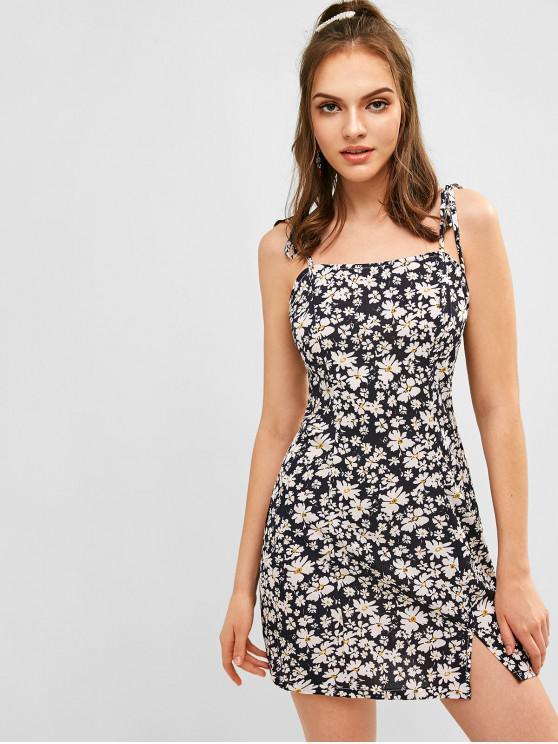 sale ZAFUL Floral Tie Shoulder Cami Dress - DARK SLATE BLUE L