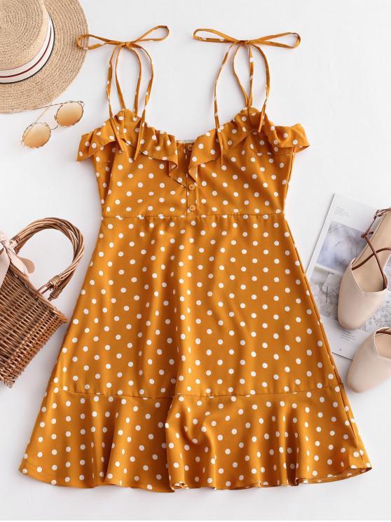 women Tied Straps Polka Dot Ruffles Mini Dress - YELLOW M