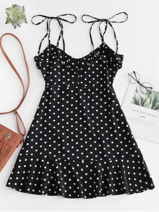 best Tied Straps Polka Dot Ruffles Mini Dress - BLACK L