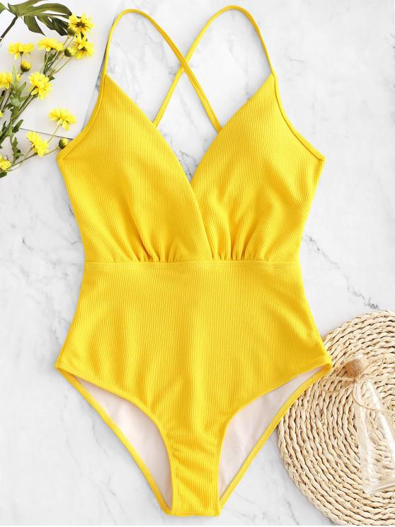 ladies ZAFUL Ribbed Criss Cross Backless Swimsuit - BEE YELLOW L