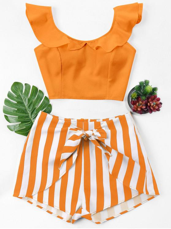 trendy Ruffle Striped Shorts Two Piece Set - DARK ORANGE M