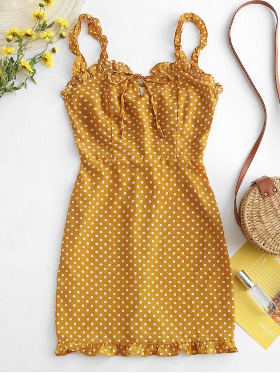 fashion Smocked Polka Dot Ruffle Straps Dress - YELLOW L