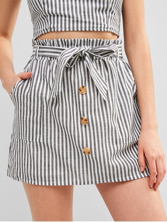 lady ZAFUL Belted Buttoned Stripes Mini Skirt - BLACK L