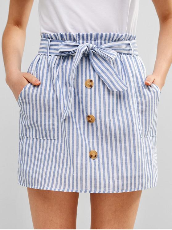 lady ZAFUL Belted Buttoned Stripes Mini Skirt - LIGHT BLUE L