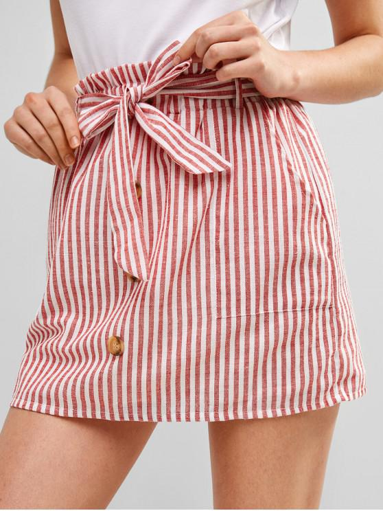 fancy ZAFUL Belted Buttoned Stripes Mini Skirt - RED M