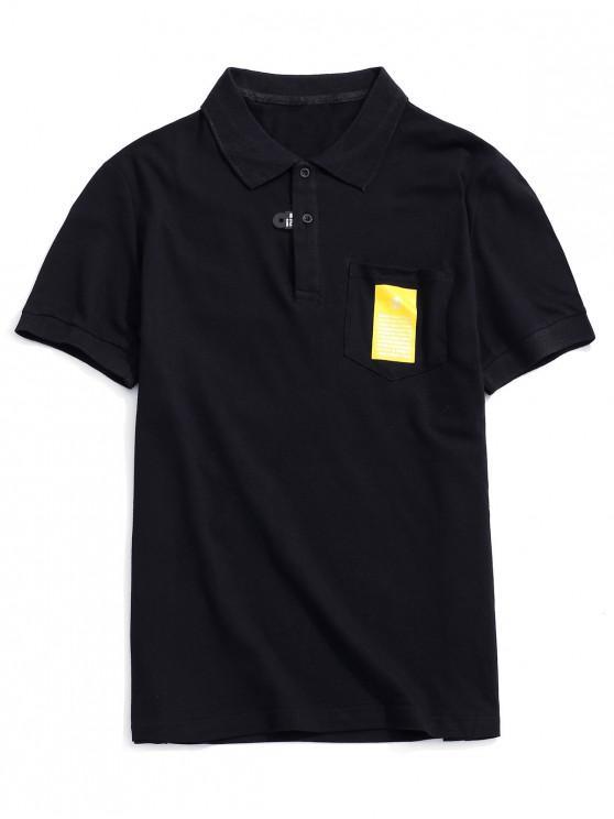 Camiseta de manga corta con diseño de bolsillo. - Negro S