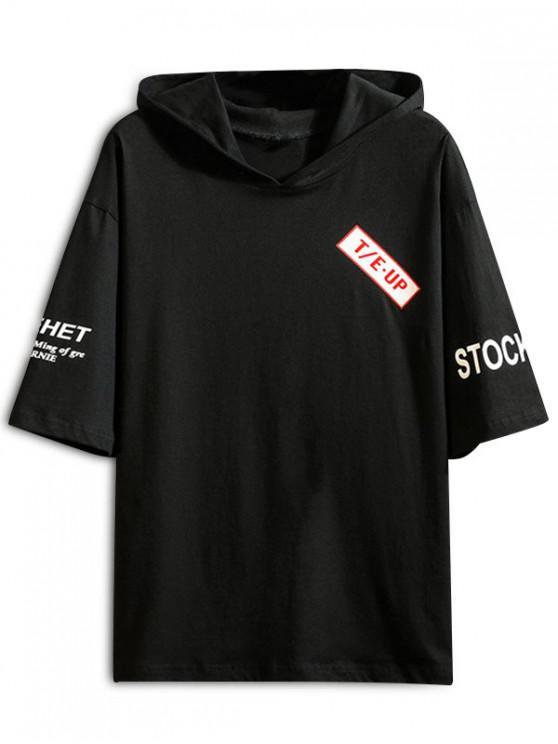 T-shirt a maniche corte con stampa grafica per il tempo libero - Nero 2XL