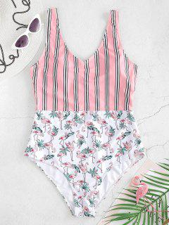 ZAFUL High Rise Flamingo Striped Swimsuit - White L