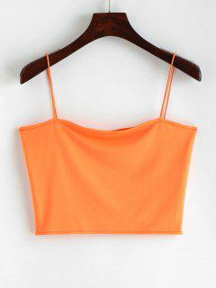 Spaghetti Strap Cropped Top - Mango Orange S