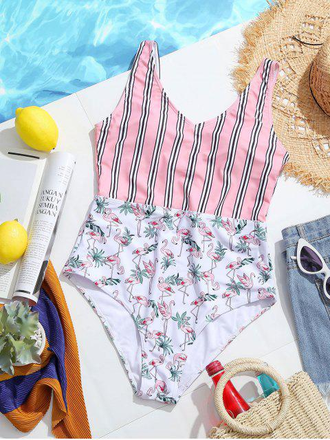 latest ZAFUL High Rise Flamingo Striped Swimsuit - WHITE XL Mobile