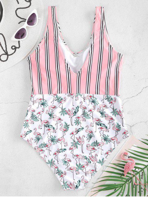chic ZAFUL High Rise Flamingo Striped Swimsuit - WHITE L Mobile