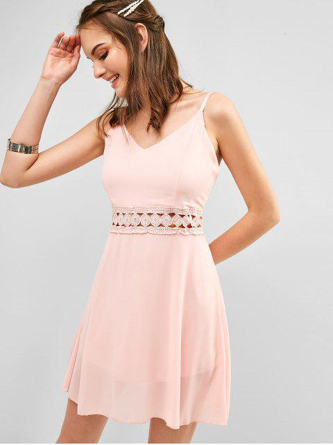 shops Back Zipper Crochet Panel Cami Dress - ROSE S Mobile
