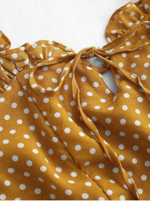 hot Smocked Polka Dot Ruffle Straps Dress - YELLOW S Mobile