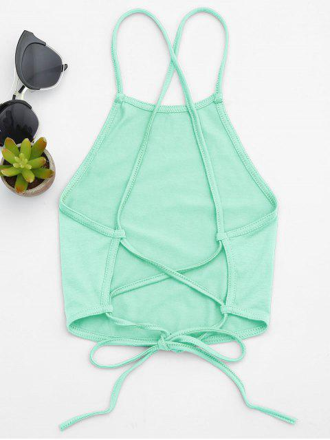 outfits Open Back Cropped Tank Top - MINT GREEN M Mobile