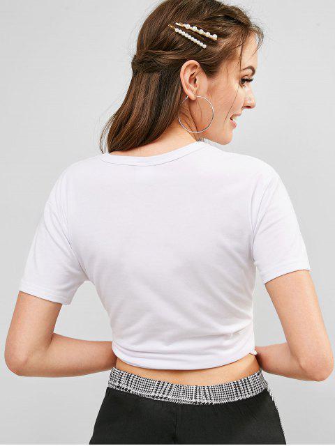 T-shirt Graphique Lune à Manches Courtes - Blanc M Mobile