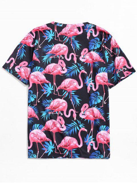 Camiseta de playa con estampado de flamencos de hoja tropical - Multicolor-A 2XL Mobile