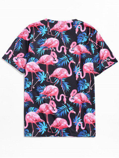 Camiseta de playa con estampado de flamencos de hoja tropical - Multicolor-A M Mobile