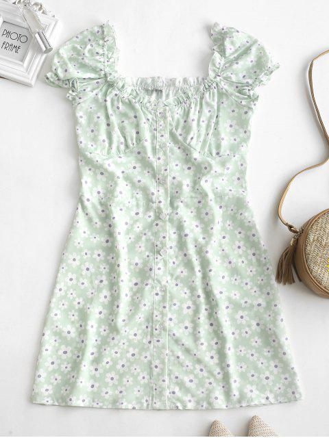 affordable Ruffles Floral Print Button Up Dress - WHITE S Mobile