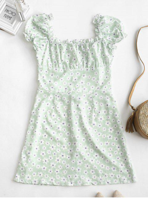 latest Ruffles Floral Print Button Up Dress - WHITE M Mobile
