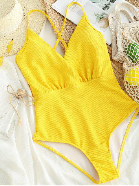 ladies ZAFUL Ribbed Criss Cross Backless Swimsuit - BEE YELLOW L Mobile