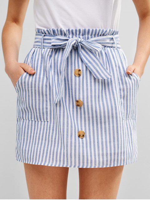 trendy ZAFUL Belted Buttoned Stripes Mini Skirt - LIGHT BLUE S Mobile