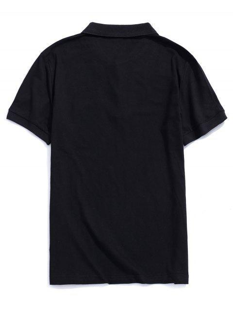 T-shirt à manches courtes avec motif de lettre - Noir S Mobile