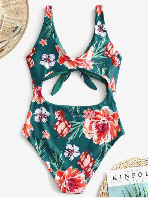 trendy ZAFUL Floral Knot Cutout Reversible Swimsuit - MEDIUM SEA GREEN S Mobile