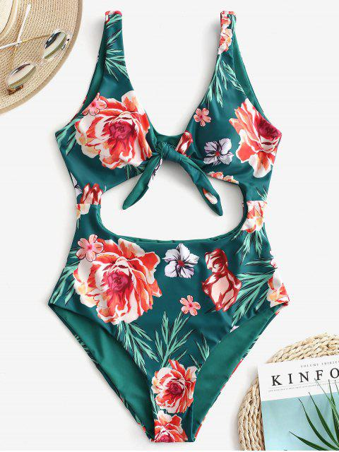 chic ZAFUL Floral Knot Cutout Reversible Swimsuit - MEDIUM SEA GREEN L Mobile