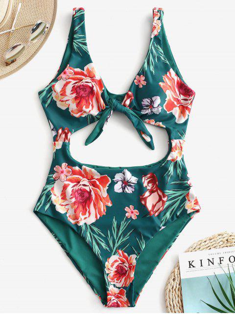 fancy ZAFUL Floral Knot Cutout Reversible Swimsuit - MEDIUM SEA GREEN XL Mobile