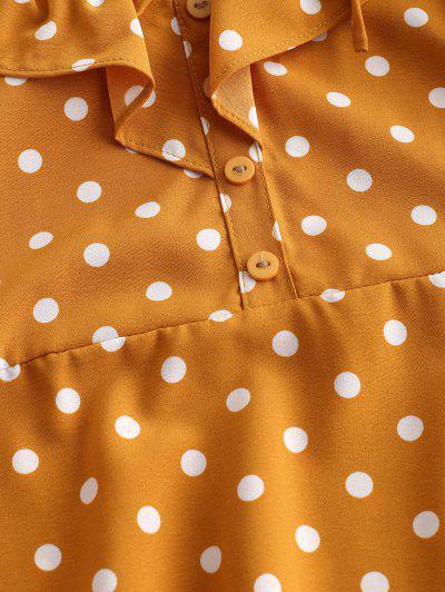 Tied Straps Polka Dot Ruffles Mini Dress, Yellow
