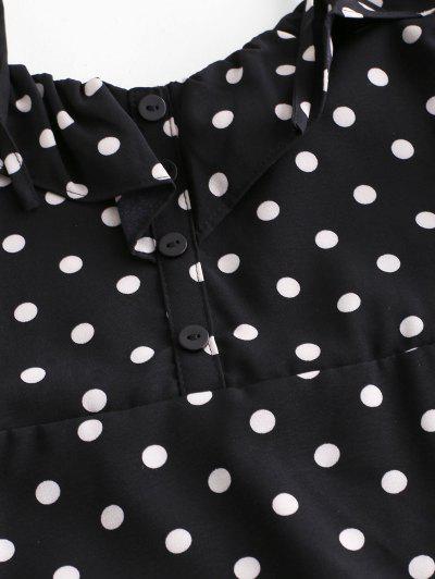 Tied Straps Polka Dot Ruffles Mini Dress, Black