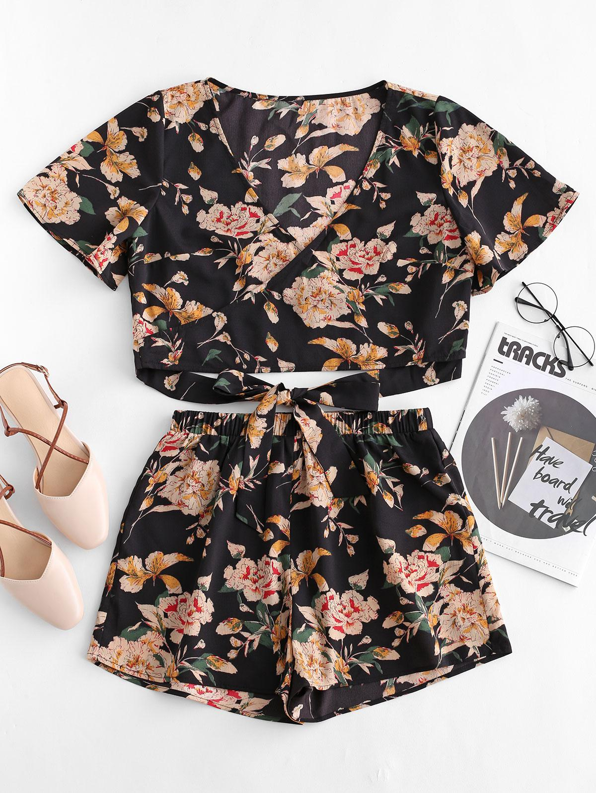 ZAFUL Knotted Floral Print Top and Shorts Set, Black
