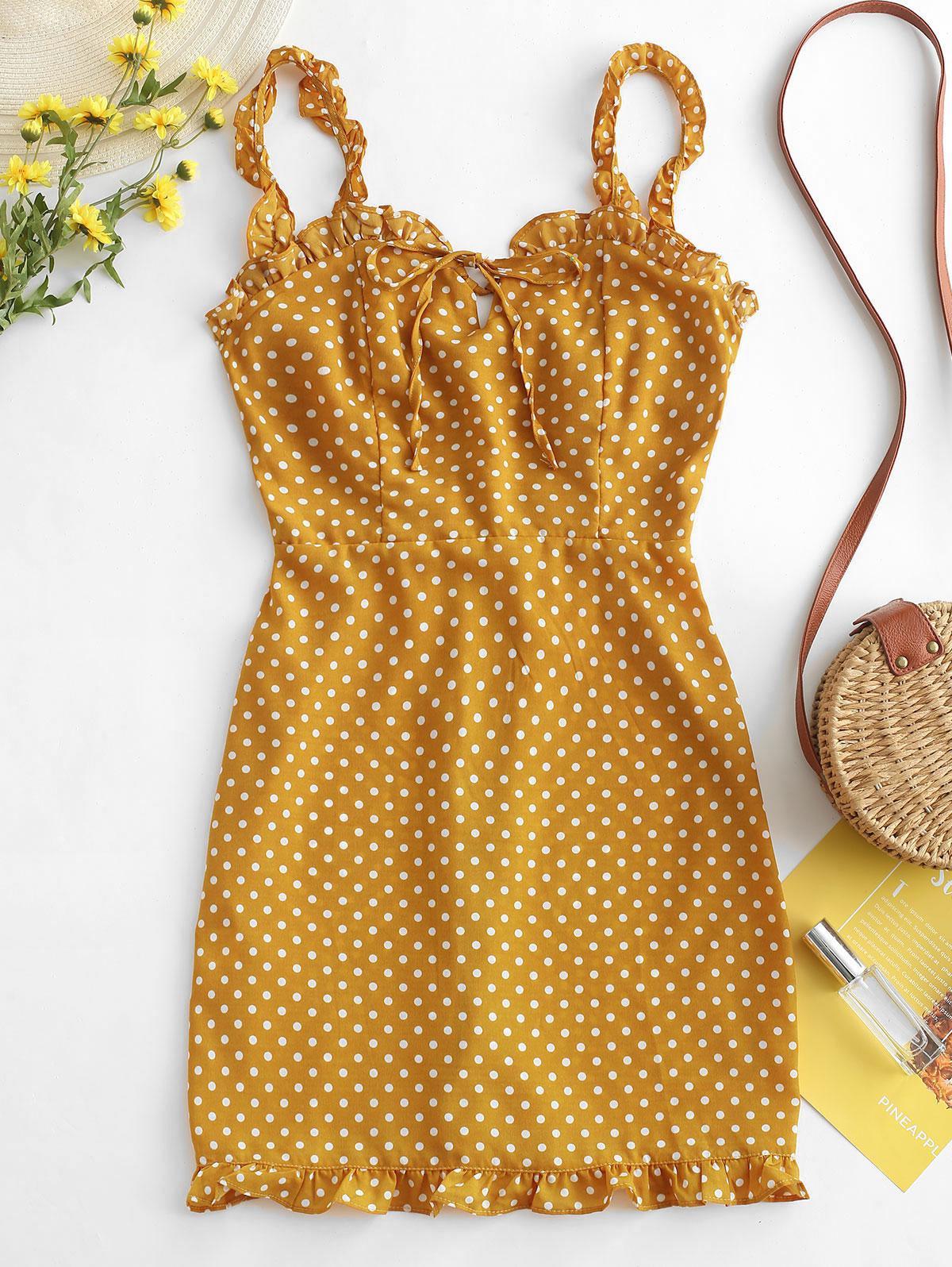 Smocked Polka Dot Ruffle Straps Dress, Yellow