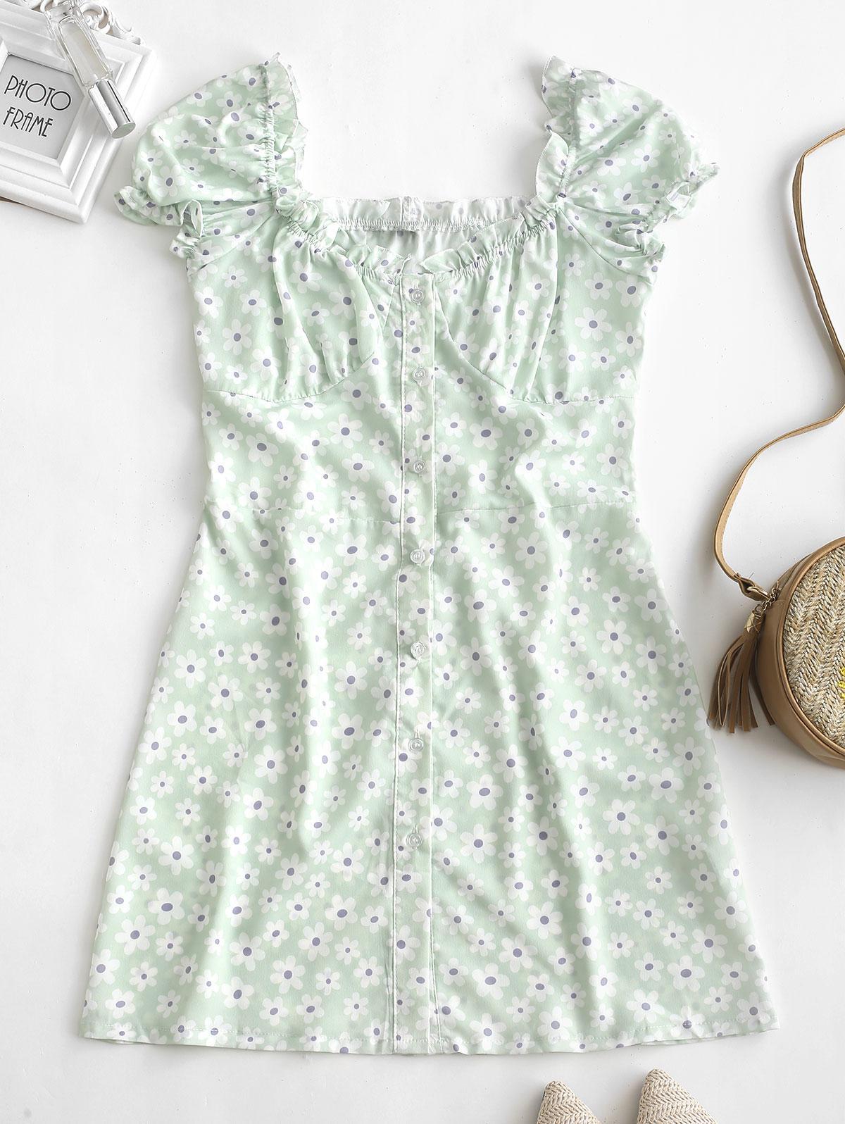 Ruffles Floral Print Button Up Dress, White